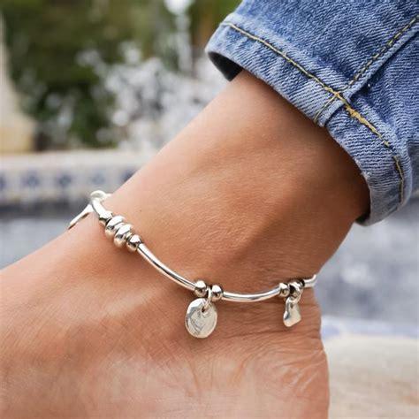 gigi anklet  silverplate  single leather strand