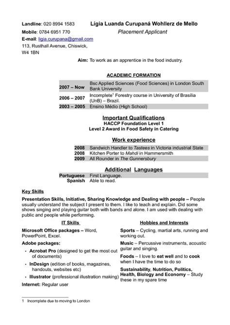 Hobbies To Include In Curriculum Vitae by Curriculum Vitae Pdfsr