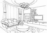 Coloring Living Printable Interior Colouring Empty Ausmalen Supercoloring Adult Drawing Ornament Perspective Ausmalbilder Sketch Template Wohnzimmer sketch template