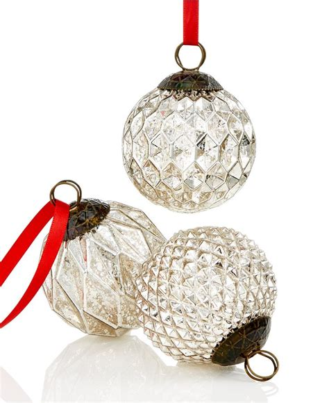holiday lane set of 3 textured silver ball ornaments only