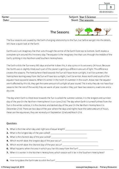 science printable primary worksheets