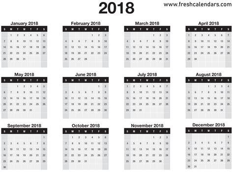 18 Month Calendar Template by 20 Printable 2018 Calendar Templates