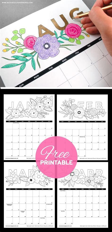 printable calendar coloring pages ten