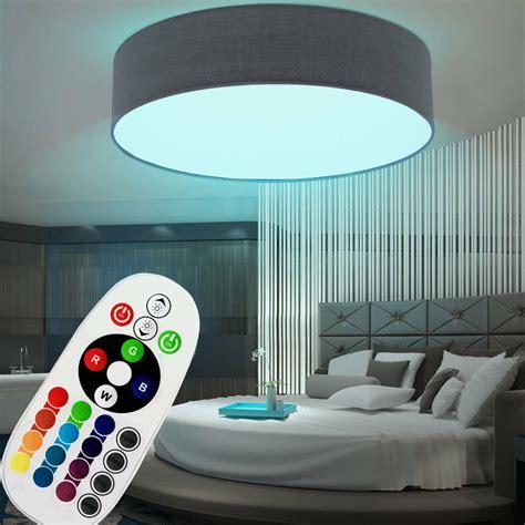 led farbwechsel deckenleuchte rgb led deckenleuchte farbwechsel fernbedienung wohnzimmer strahler textil grau ebay