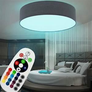 Wohnzimmer Lampe Dimmbar : led decken lampe dimmbar schlaf zimmer stoff textil rgb ~ Watch28wear.com Haus und Dekorationen