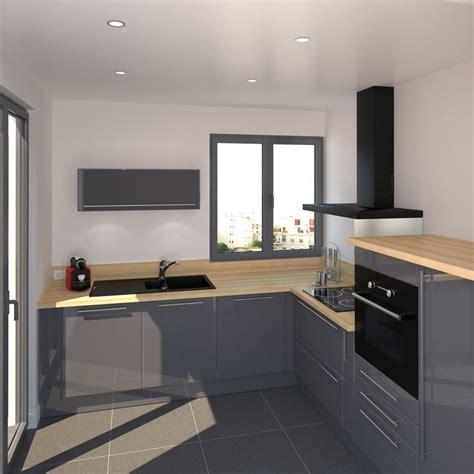 cuisine couleur gris bleu cuisine grise plan de travail noir 8 coin cuisine