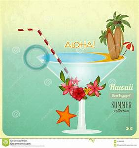 Summer Cocktail Card In Retro Style Stock Illustration ...