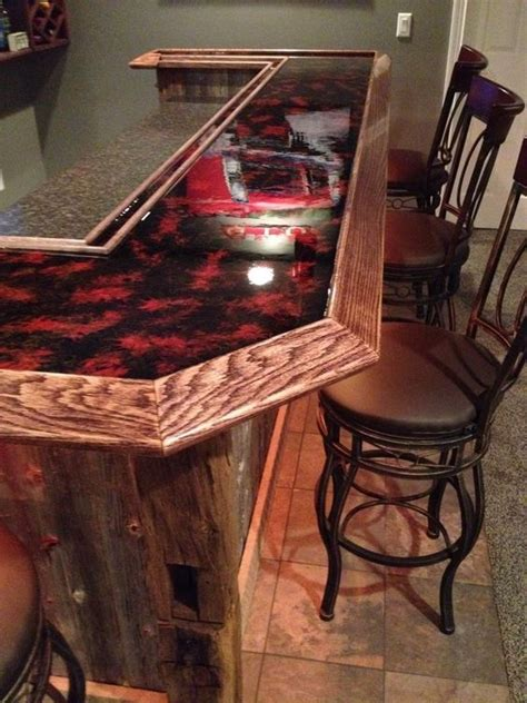 red countertop epoxy bartop home sweet home