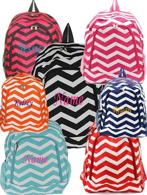 personalized chevron large school book bag backpack