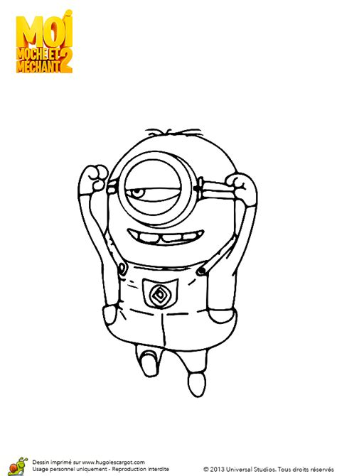 coloriage minion trop fort