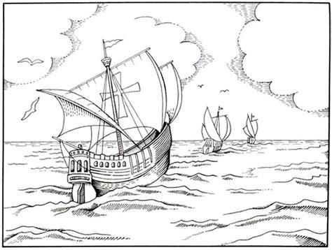 Barcos Para Colorear De Cristobal Colon by Dibujo De Las Tres Carabelas De Cristobal Col 243 N Para