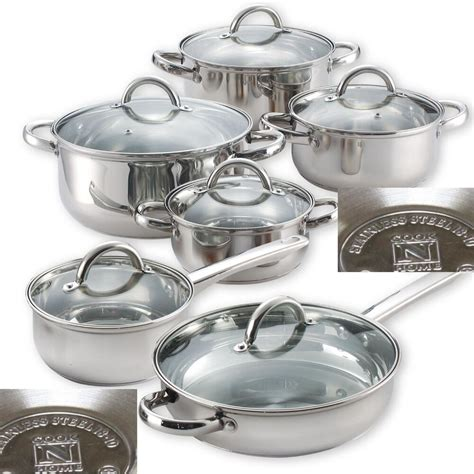 pans pots cookware steel stainless cooking kitchen induction ready cooktop authentic pc