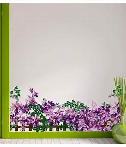Stickerskart Multicolor Floral Border Design Purple