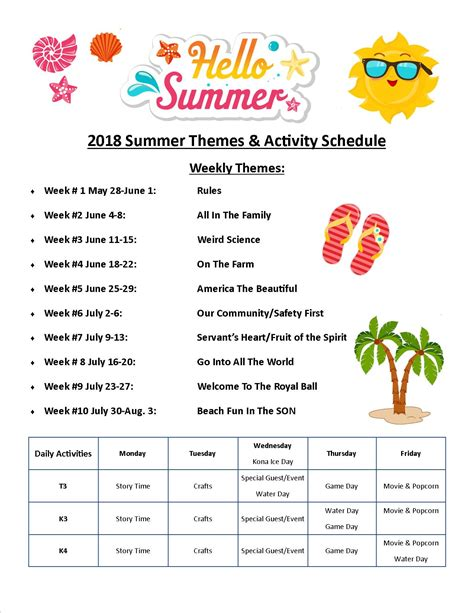 warner christian academy preschool south daytona fl 197 | Summer Camp Activity Schedule 2018