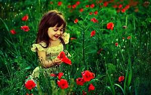 Cute Baby Girl With Red Flowers HD Wallpaper | Cute Little ...