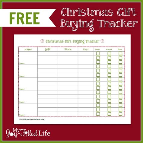 buying gifts tracker sheet free printable gift buying tracker