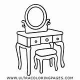 Coloring Table Dressing Desenho Vanity Colorir Penteadeira Ultra sketch template