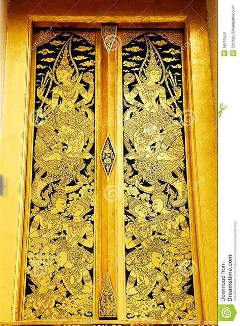 thai art mural door stock photo image  background