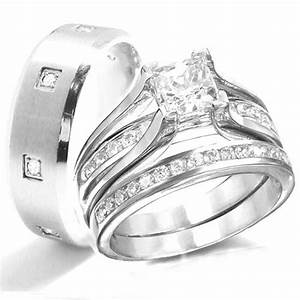 Kingswayjewelry his her 3 piece women sterling silver for Wedding rings for male and female