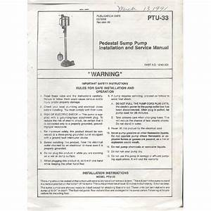 Original 1988 Wayne Pedestal Sump Pump Installation Manual
