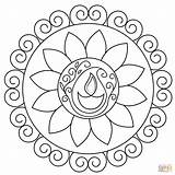 Rangoli Coloring Pages Flower sketch template