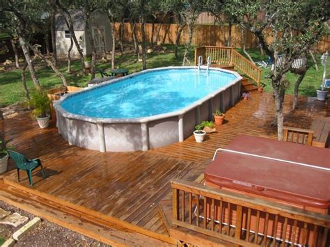 Hot Tub And Above Ground Pool Deck Designs