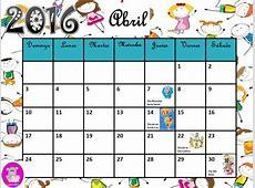 Imágenes de Calendarios Infantiles de Abril 2016 para