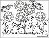 Flower Garden Pages Coloring Printable Print sketch template