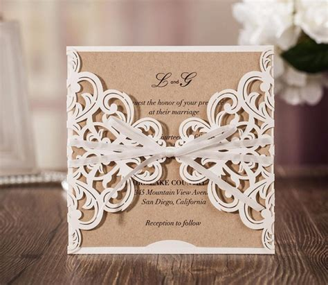 Rustic theme laser cut wedding invitation cards birthday