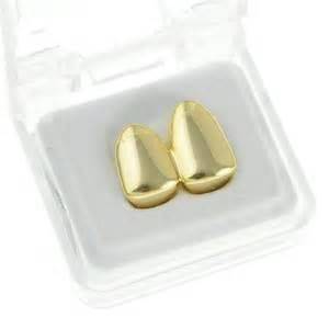 Double Cap Gold Plated Grillz Plain Canine Bling Two Tooth Hip Hop Teeth Grills