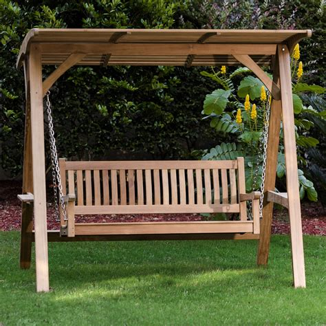 Porch Swing Bench by Teak Veranda Porch Swinging Bench With Canopy