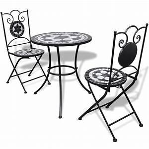 Bistrotisch Mit 2 Stühlen : vidaxl mosaik bistrotisch 60 cm mit 2 st hlen schwarz wei ~ Michelbontemps.com Haus und Dekorationen