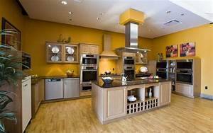 10 beautiful kitchens with yellow walls With best brand of paint for kitchen cabinets with red modern wall art