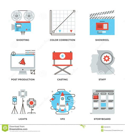 film  video production  icons set stock vector