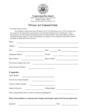 Privacy Release Form Template by Privacy Act Consent Form Fill Printable