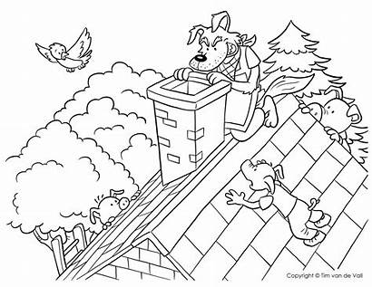 Pigs Wolf Coloring Three Chimney Pages Bad