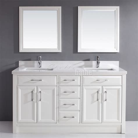 Studio Bathe Calais White Double Bathroom Vanity, Carrera