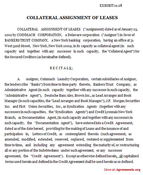 termination of assignment of leases and rents form collateral assignment of leases agreement sle