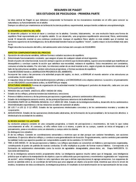 L Etranger Resumen Por Capitulos by Resumen De Piaget Seis Estudios De Psicologia