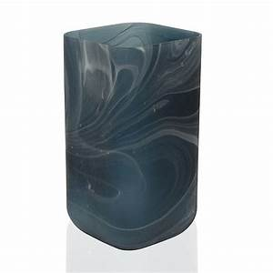 Scott Living Luxe Navy Marble Glass Rectangle Vase