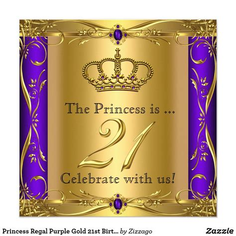 princess regal purple gold st birthday party invitation