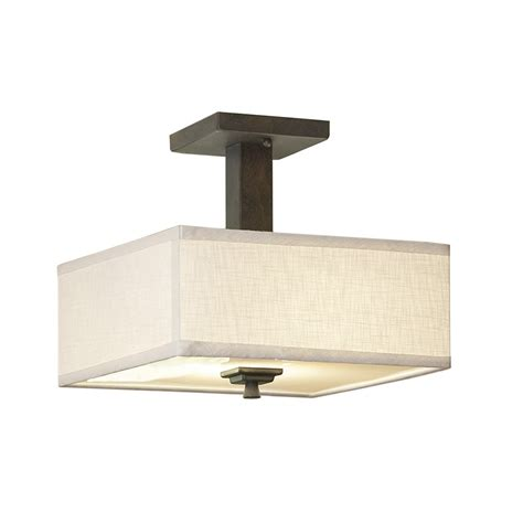 lowes semi flush mount ceiling light shop allen roth granada 12 in w bronze fabric semi flush