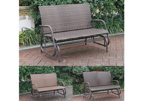 Outdoor Patio Yard Glider Loveseat Bench High Back Pe