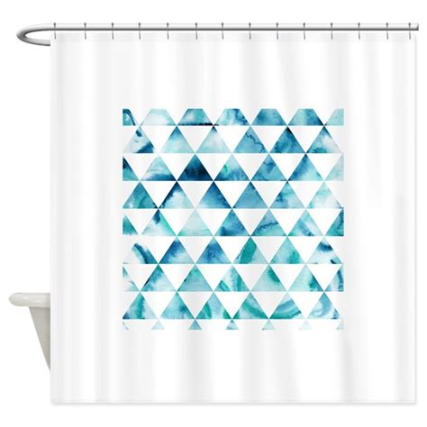 Geometric Pattern Curtains Canada by Blue Triangle Geometric Pattern Shower Curtain By Groovyfinds