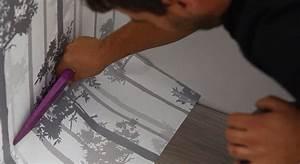 Pose Papier Peint Intissé Sur Ancien Papier : coller papier peint sur mur peint ~ Dode.kayakingforconservation.com Idées de Décoration