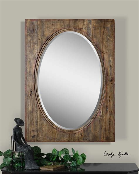 oval mirror with distressed wood hickory frame