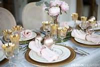 beautiful table settings Elegant Christmas Table Setting with Pink and Gold