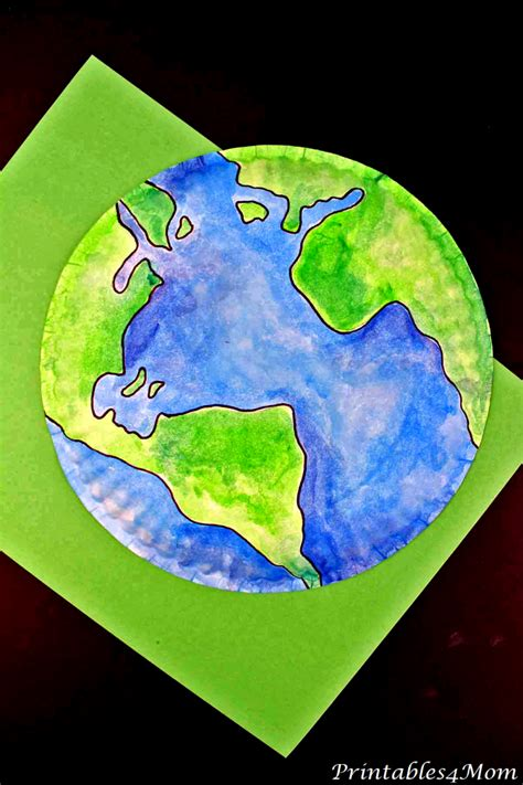 paper plate earth painting  printable template