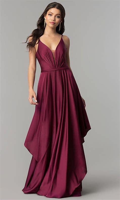 Long V-Neck Satin Prom Dress with Open V-Back   Beautiful ...