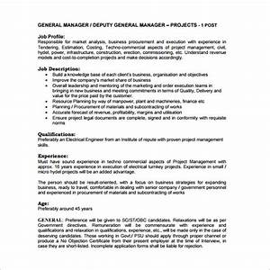 11 general manager job description templates free With generic job description template
